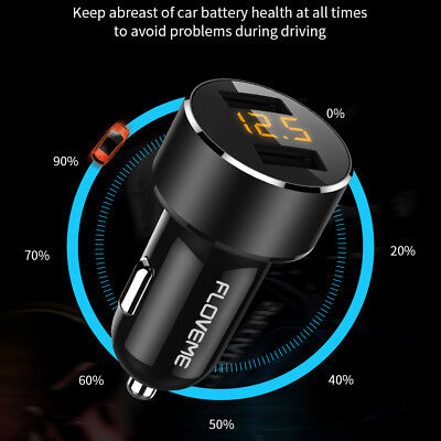 FLOVEME Dual USB Car Charger Adapter 3.6A Digital LED Voltage/Current Display