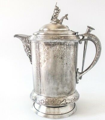 Antique Silver Plate Ice Water Pitcher Insulated Figural Boy On Dolphin Koi