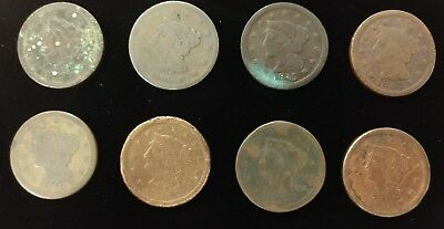 Group of (8) 1840s and 1850s US Large Cents - Lot H