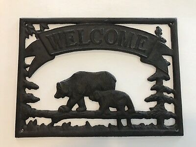 Vintage Cast Iron Welcome Sign Bears Forest Outdoors Living Cabin Lodge