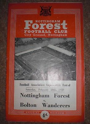 NOTTINGHAM FOREST v BOLTON WANDERERS 1959 FA CUP 1/4 FINAL FOOTBALL PROGRAMME
