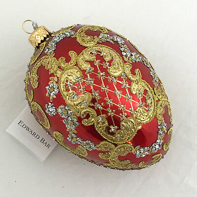 Red egg-Ornamental-Glass Christmas Ornament handmade in Poland-Edward Bar