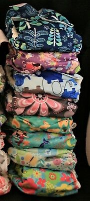 LOT of 8 Blueberry Simplex /OS/ All-in-One Diaper/ multiprint/ EUC