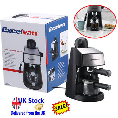 800W Steam Espresso And Cappuccino Coffee Tea Maker 4-Cup 3.5bar With Grinder