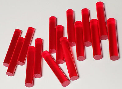 "15 Pcs 1/2"" x 3"" LONG CLEAR RED TRANSLUCENT ACRYLIC PLEXIGLASS LUCITE ROD DOWELS"