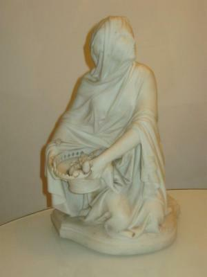STUNNING LARGE ANTIQUE 19th CENTURY PARIAN WARE FIGURE SIGNED A.CARRIER