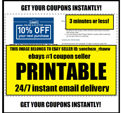 FIVE 5x LOWES 10% OFF COUPONS - BEST EXPIRATION - FASTEST DELIVERY GET THEM NOW!