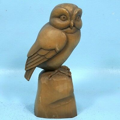 Vintage Swiss Black Forest Wood Carving OWL Bird Brienz c1950