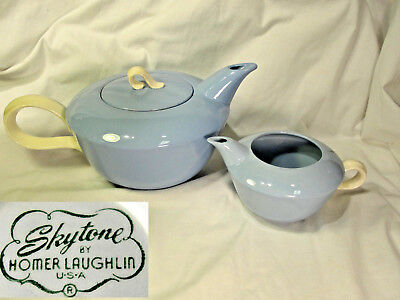 Vtg Mid Century Homer Laughlin Skytone Tea Pot & Creamer Blue & White Teapot