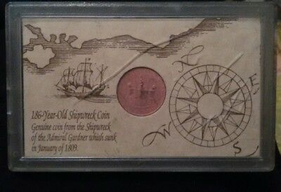 1808 East India Co. X Cash coin Shipwreck of the Admiral Gardner / history case