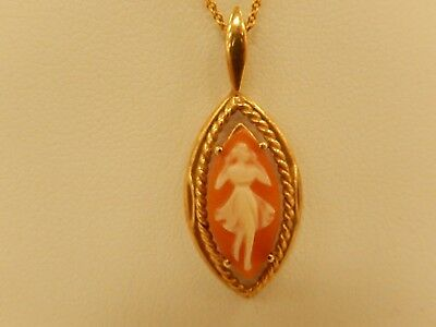 "Vintage 14K Yellow Gold Cameo Dancing Lady Pendant With Solid 18K Italy 16""Chain"