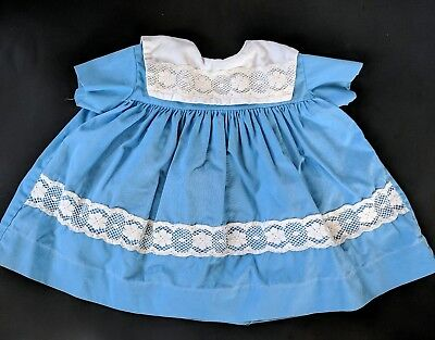 Vintage Blue and White Lace Girls Dress Toddler Doll