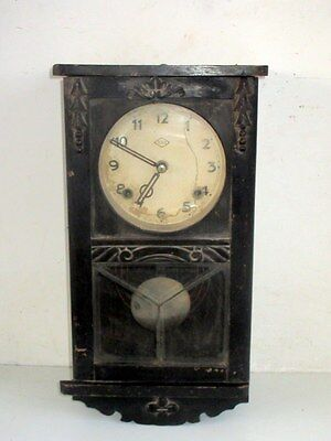 1900's Antique Old Rare Wooden Case BSM Mark Made Wall Wind Up Clock Japan Made