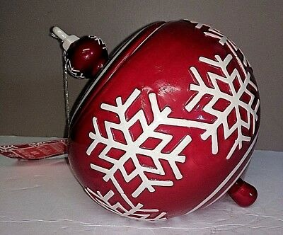 Real Home Red Christmas Ball Ornament Cookie Jar Snowflake