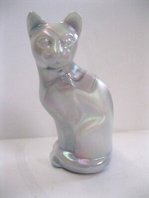 "FENTON - HAND PAINTED - STYLIZED GLASS CAT Pearlized White 5"" tall."