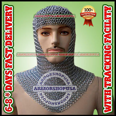 Chainmail Coif Aluminum V-neck Anodized Aluminium Chain mail Hood Armor Costume.