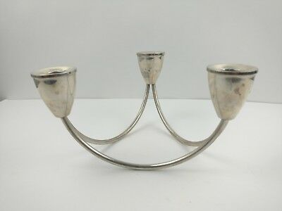 Duchin MCM Modern Sterling Silver Triple Base Candle holder Candelabra Weighted