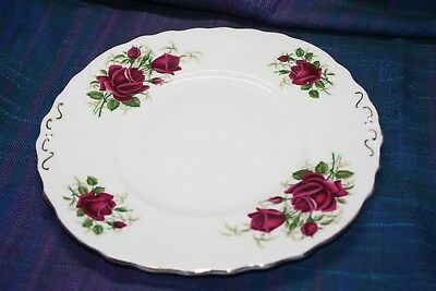 Romantic red rose cake plate. Colclough white bone china Vintage tea-party style