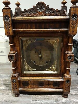 WINTERHALDER HOFFMEIER W & H Antique Oak TING TANG Bracket Mantel Clock