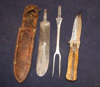 Rare Very Early Ka-Bar/Union Cutlery Co.Multi Blade Change out,Fork and 2 Blades
