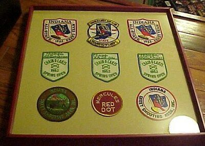 Framed Collection Skeet and Trap Shooting Award Patches South Bend, In. 1960's