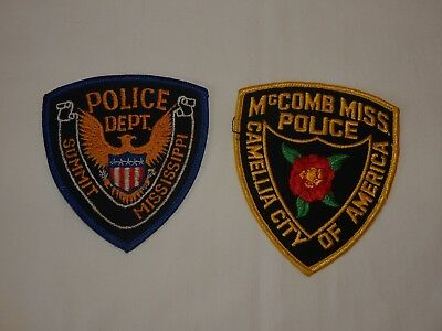 2 New Police Dept Patches McComb & Summit Miss