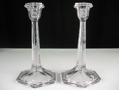 "Fostoria Cut No 1963 Candlesticks 2 pc Set, Antique c1914 9"" Tall Candle Holders"