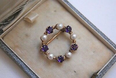 FINE VINTAGE 9 CT GOLD 0.50 CT AMETHYST &CULTURED PEARL BROOCH PIN 2.0 x 2.0 CM