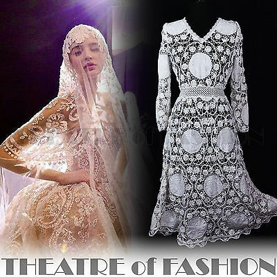 Dress Lace Wedding Crochet Vintage Victorian Boho 10 12 14 16 White Beautiful