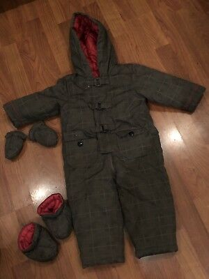 Boys Grey Checked Hooded Zip Snowsuit Coat Inc Gloves Bootees Age 9-12Mths