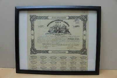 1861 Confederate $500 Certificate Bond With Coupons Richmond