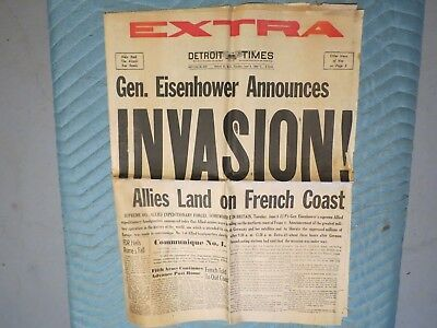 June 6, 1944 Detroit Times Newspaper: Wwii D-Day Allied Invasion Of France
