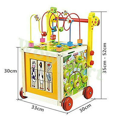 Educational Wooden Toy 7 in 1 Kid Toddler Bead Maze Activity Cube Walker #5849