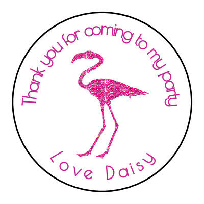 Sparkly Flamingo Personalised Thank You Stickers Party Bag