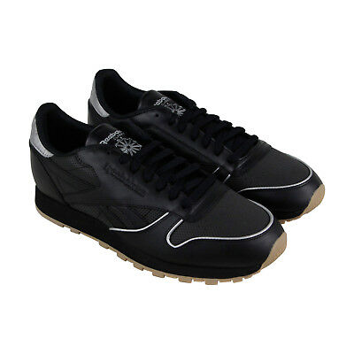 3f4fe3a15c723d REEBOK CLASSIC LEATHER Rm Mens Black Leather Athletic Training Shoes ...