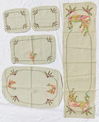 Vintage Antique Embroidered Peacock Linen Set Placemat Table Runner Lot 5 pcs