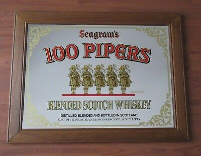 Vintage SEAGRAM'S 100 PIPERS Scotch Whiskey Beer Mirror Bar Sign Man Cave Framed