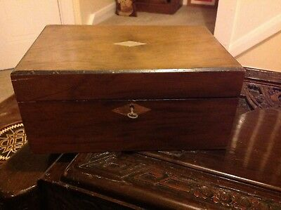 Vintage Antique Wooden Box Lockable With Key & Inlay to Lid