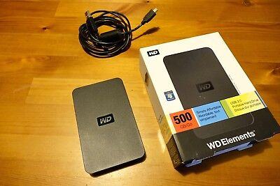 Wd Elements 500 Gb Usb 2.0 Ext Portable  Hdd *ex  Cond Boxed *full Of Hd Films