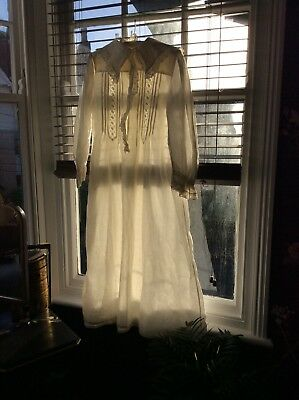 Victorian Womans Long White Hand Embroidered Nightdress Steampunk Re-enactments