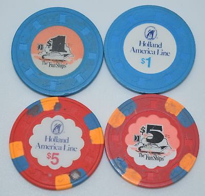 Set of 4 Mix Cruise Ships $1-$5 Casino Chips H&C Paul-son Holland American Line