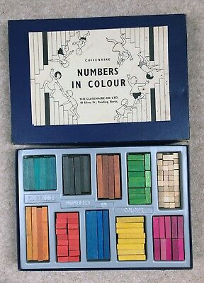 Vintage Wooden Cuisenaire Rods Boxed 1960s Numbers in Colour Antique Toy