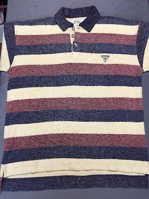 VTG 90s Guess Jeans L/S Polo Rugby Shirt Youth XL Men's SMALL S Vintage Rare EUC