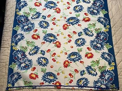 """Vintage Linen Kitchen TOWELING TOWEL FABRIC BEAUTIFUL Floral Extra Long 50""""L"""