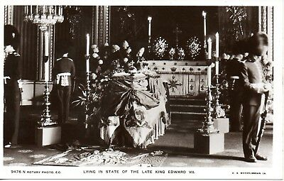 LYING IN STATE OF THE LATE KING EDWARD VII c1910 ROYALTY POSTCARD EXC