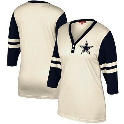5da1b5b83 NWT MITCHELL   Ness DALLAS COWBOYS NFL Throwbacks 3 4 Sleeve Henley ...