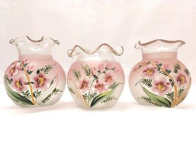 Vintage 3 Stunning Moser Crystal Vases Hand Painted With Frilled Rims Bohemia