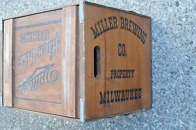 RARE Vintage Miller High Life Beer Wooden Shipping distributor Crate Moon Girl