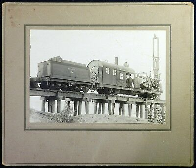 Vtg Antique 1890s 1900s PHOTO Railroad Train Trestle Bridge Pile Driver Engine