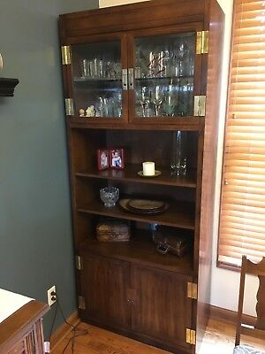1 Henredon Scene One Cabinet Lighted Glass Mirrored Solid Wood Original Owner